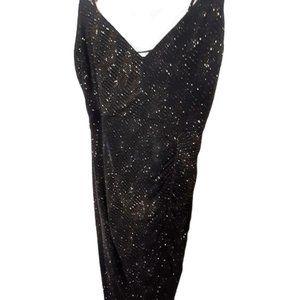 VTG black gold shimmer bodycon midi dress small